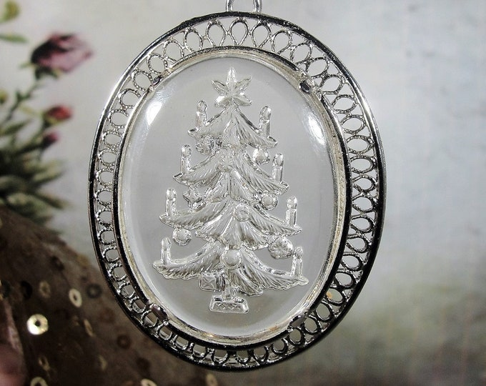 """LENOX Lead Crystal Reverse Carved Christmas Tree Pendant and Necklace, 24"""" Sterling Silver Twisted Diamond Cut Rope Chain, Vintage Necklace"""