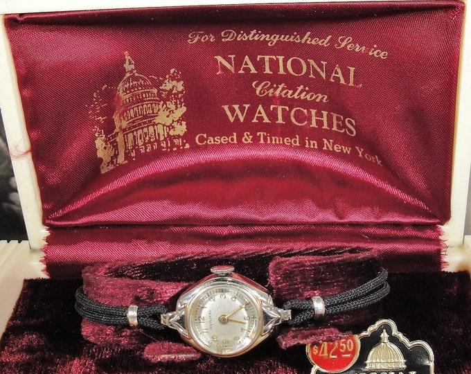 Women's Wristwatch, Art Deco ELGIN NATIONAL CITATION White Gold-Filled Mechanical Wristwatch w/ Original Celluloid Case, Vintage Wristwatch