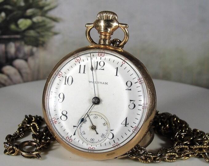 Waltham Pocket Watch, 14K Gold Filled Open Face Pendant Pocket Watch, Antique 1908 Production Date, Mechanical Watch, Vintage Watch