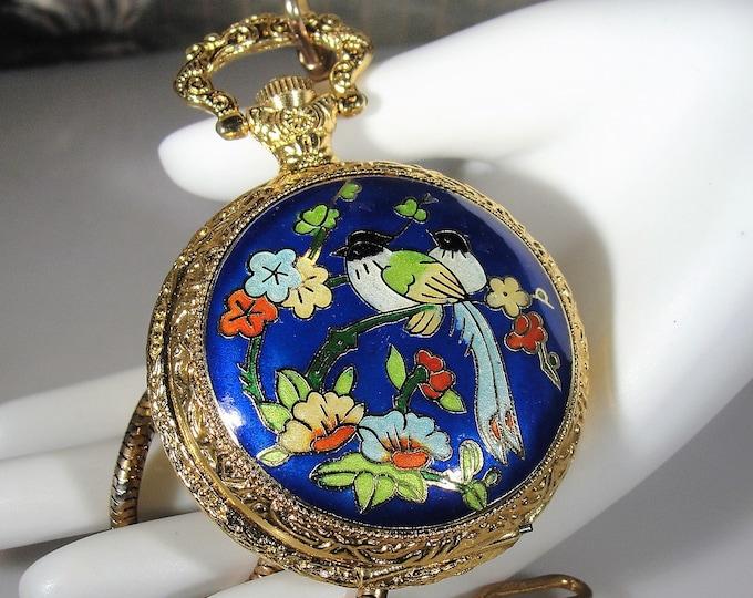 Cloisonné Pocket Watch, Enamel Pocket Watch, Mechanical Pocket Watch, 17 Jewels, Original Box, Chain and Fob, Vintage Enamel Pocket Watch