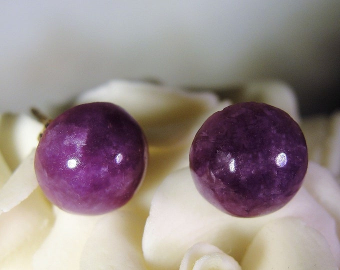 Pierced Earrings, Vintage 14K Yellow Gold Purple Mottled Amethyst Cabachon Stone Stud Earrings