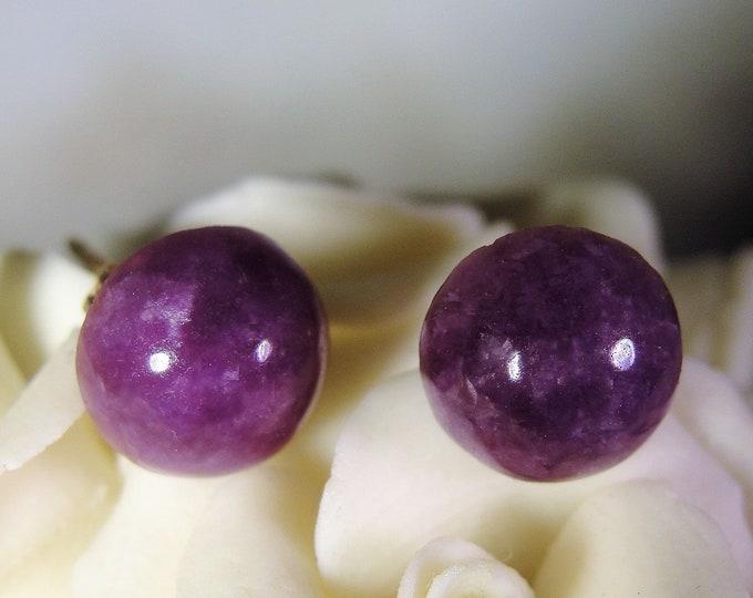14K Stud Earrings, Mottled Amethyst Stone Earrings, Amethyst Stud Earrings, Purple Amethyst Earrings, Cabochon Earrings, Vintage Earrings