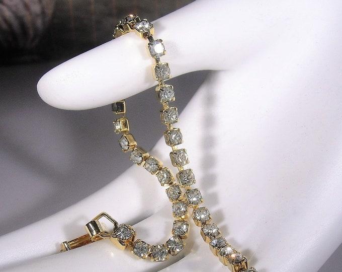 Tennis Bracelet, Rhinestone Gold Tone Tennis Bracelet, Dainty Tennis Bracelet, Fashion Bracelet, Vintage Bracelet