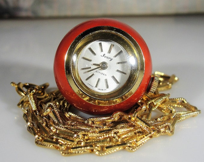 "Pendant Watch, Vintage CITIZEN Red Apple Enamel Pendant Ball Watch with a 29"" Gold Tone Chain"