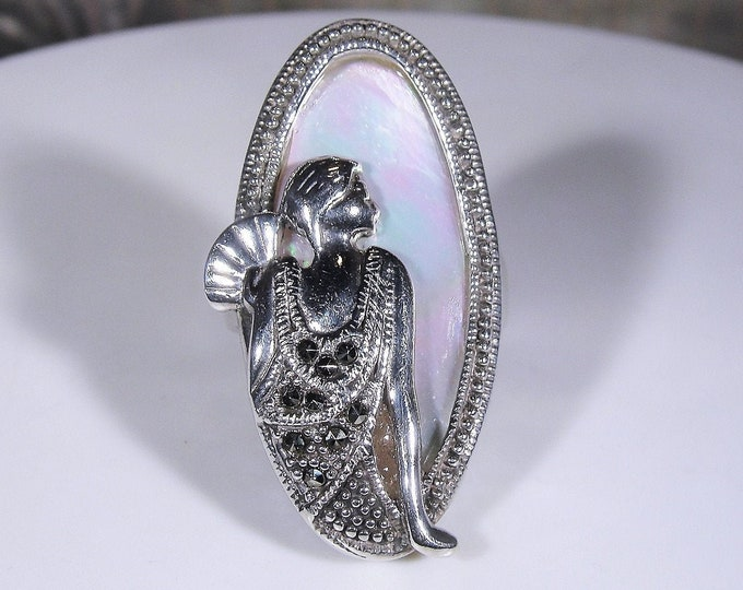 Art Deco Ring, Sterling Silver Mother of Pearl Ring with Embossed Art Deco Lady wearing a Marcasite Accented Dress, S7, Vintage, FREE SIZING