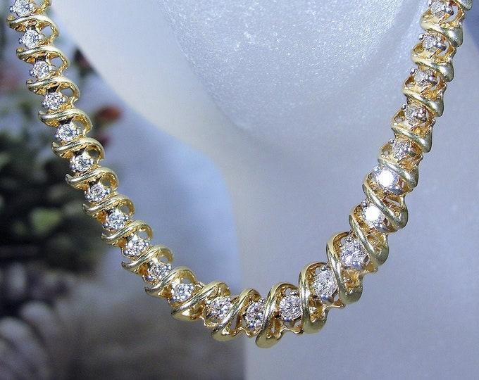 Diamond Necklace, Vintage 18K Gold Diamond Tennis Necklace, 2 CTW, Vintage Necklace / Choker, Diamond Necklace, Genuine Diamonds, 17 Inches