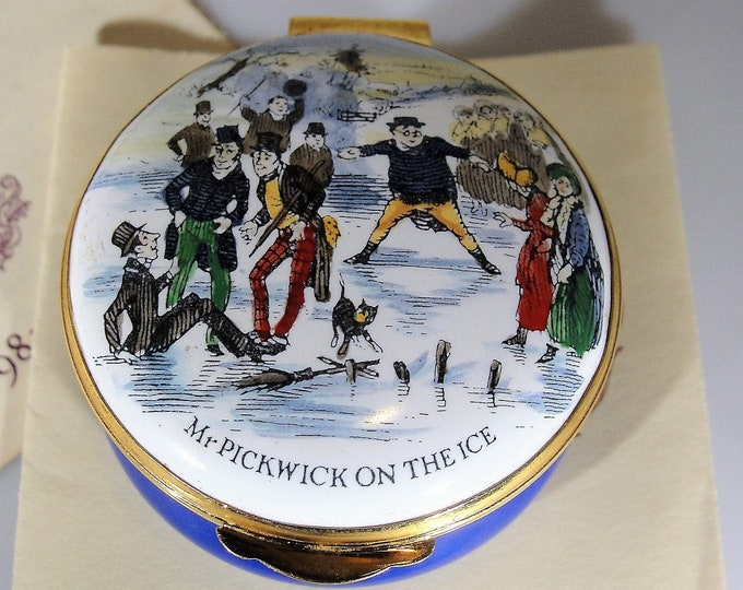 ENGLISH ENAMELS Crummles Limited Edition 1981 Christmas Trinket Box, Mr. Pickwick On The Ice, Authenticity Certificate, Vintage Trinket Box