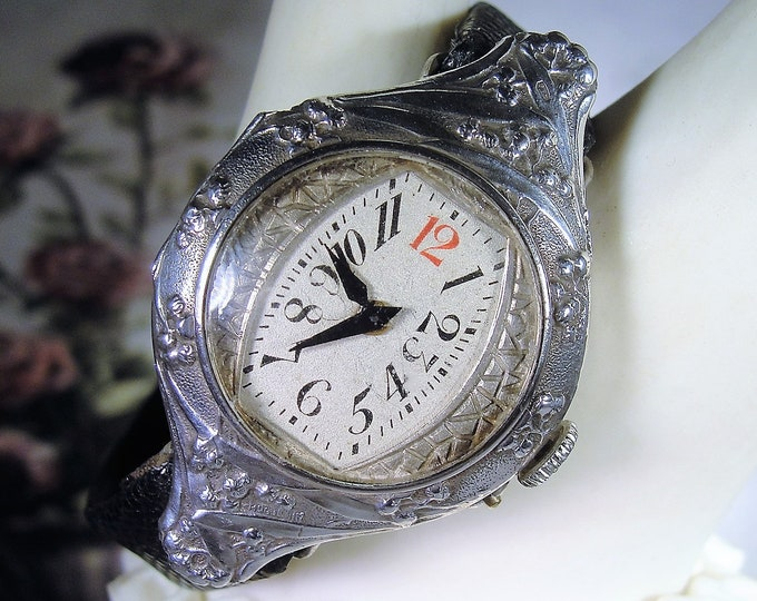 Women's Wrist Watch, Antique RARE HUGUENIN Mechanical Sterling Silver Wrist Watch with Black Leather Strap