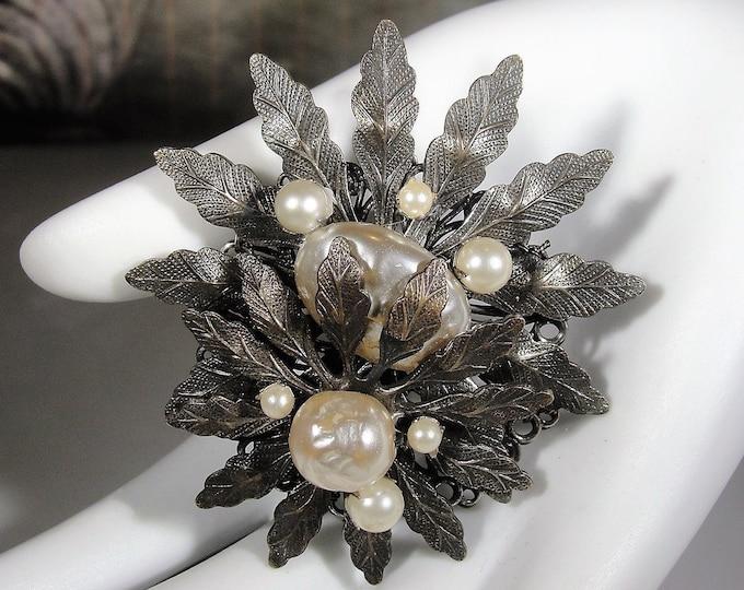 "MIRIAM HASKELL 1950's Baroque Pearl Brooch, Authentic Miriam Haskell Brooch, 2"" by 1 7/8"", Vintage Brooch, Collectible"