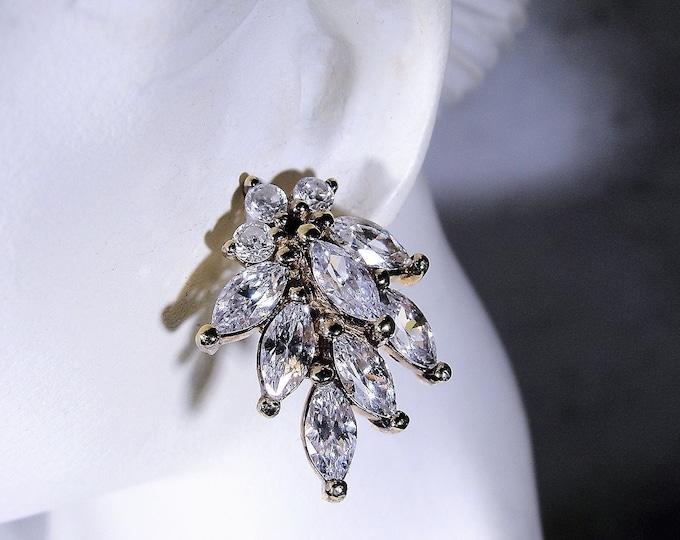 DANBURY MINT Earrings, Gold Vermeil Glamour Pierced Earrings, Post Earrings, Marquise CZ's, Art Deco Style Earrings, Vintage Stud Earrings