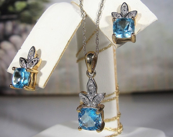 Jewelry Set, Vintage 10K Yellow Gold Swiss Blue Princess Cut Topaz and Diamond Necklace & Earrings Jewelry Set