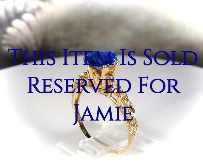Reserved for Jamie - 5th Payment: Tanzanite Ring, Victorian 10K Yellow Gold Blue Tanzanite Open Metal Work Ring, Solitaire Ring, Engagement
