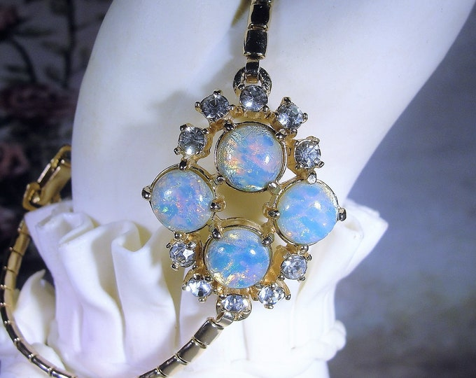 Opal Chain Bracelet, Vintage Faux Opal and Rhinestone Gold Plated Bracelet