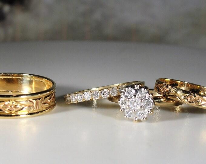 Bride and Groom Wedding Rings, 3 Ring Victorian Bridal Ring Set, Orange Blossom Groom's Band, Wedding Ring Set, Size 5 & 9, FREE RING SIZING