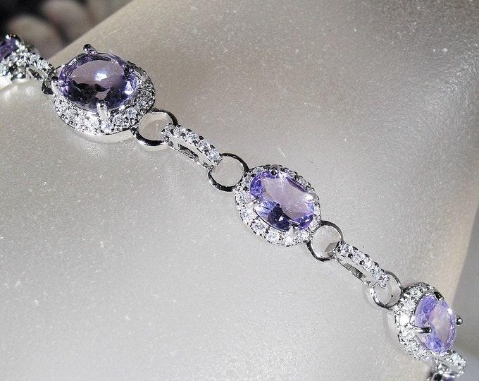 Amethyst Bracelet, Genuine Purple Amethyst and Cubic Zirconia Accented Sterling Silver Bracelet, Gemstone Bracelet, Vintage Bracelet