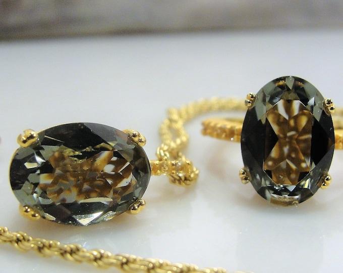 Aqua Quartz Jewelry Set, Aqua Quartz Necklace, Aqua Quartz Ring, Gold Glitter Matte Finish, Sterling Silver, Vintage Jewelry Set, Ring Sz 7