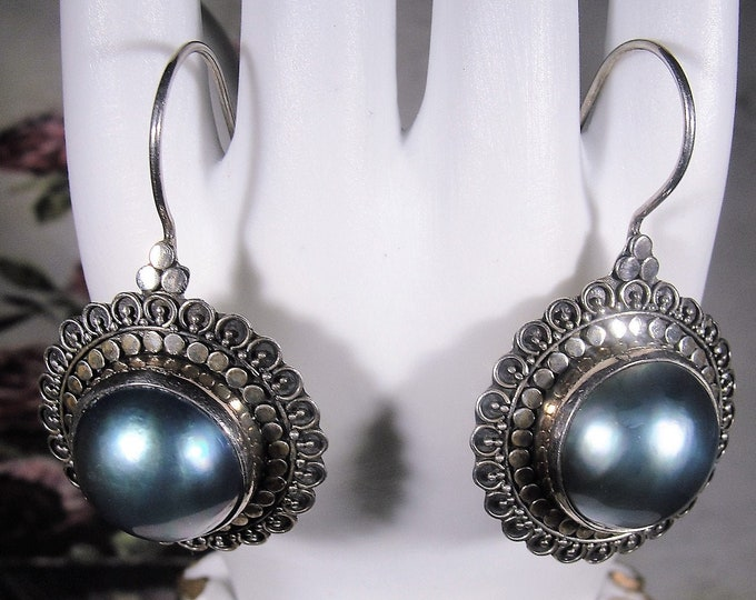 Pierced Earrings, MERAV Indonesian Large Black Pearl Sterling Silver French Hook Earrings, Vintage Earrings