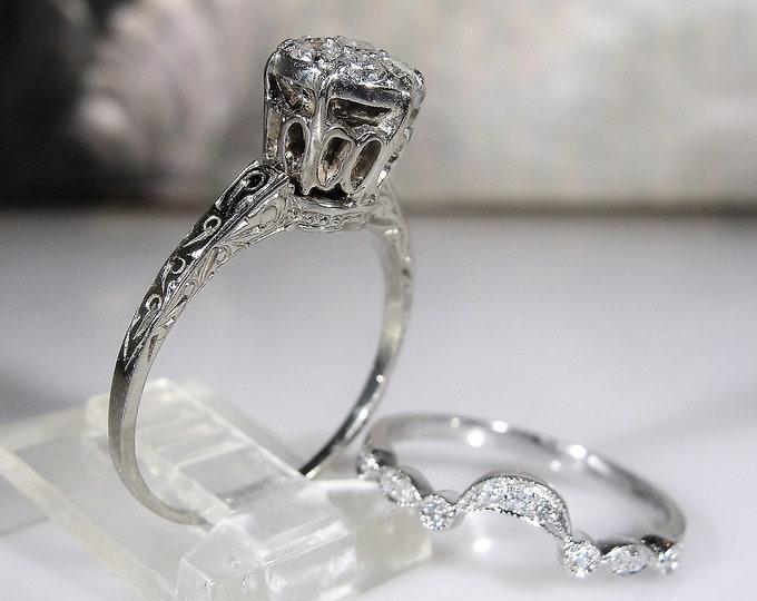 Bridal Ring Set, Victorian 14K White Gold Diamond Cluster Engagement Ring & Diamond Wedding Band, Vintage Wedding Rings, S 7, FREE SIZING!!