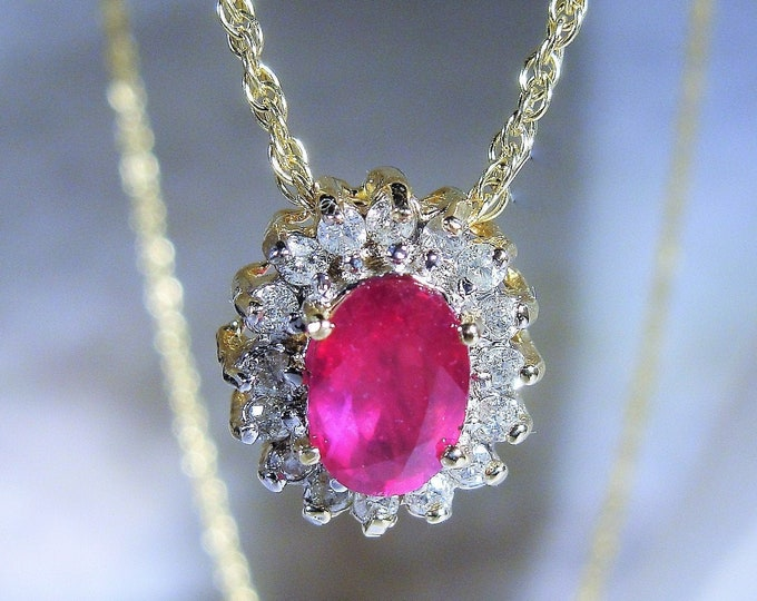 Ruby and Diamond Necklace, .75 CT Ruby, .25 CTW Diamonds, 14K Gold Chain, Ruby Halo Necklace, Genuine Gems, Vintage Necklace
