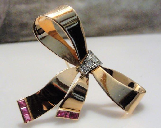 Fine Jewelry Brooch, 14K Rose Gold Diamond and Red Tourmaline Sleek Polished Bow Brooch, Vintage Brooch