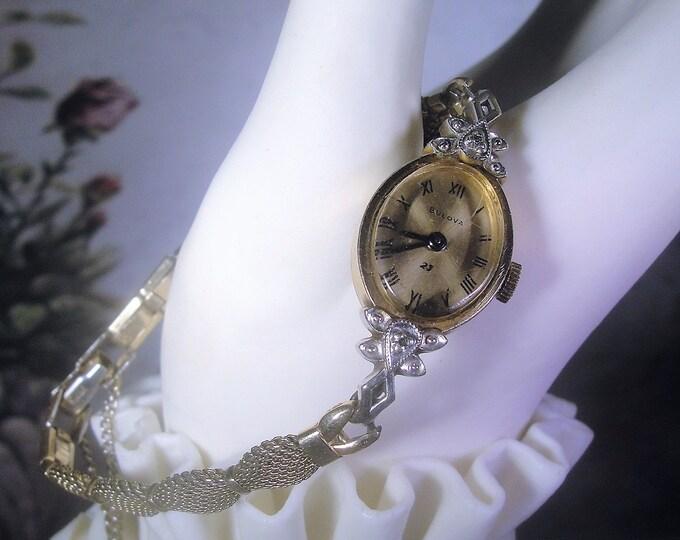 BULOVA Wrist Watch, Lady's Watch, Wrist Watch, Women's Wrist Watch, Mechanical Watch, Gold Mesh Band, 10K RGP Gold, Vintage Wrist Watch