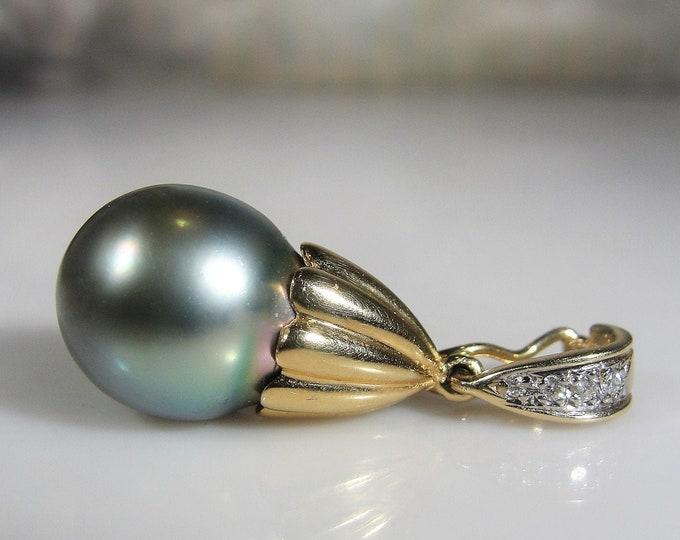 Black Pearl and Diamond Pendant, 14K Yellow Gold Black Pearl and Diamond Pendant, Genuine Natural Pearl and Diamonds, Vintage Pendant