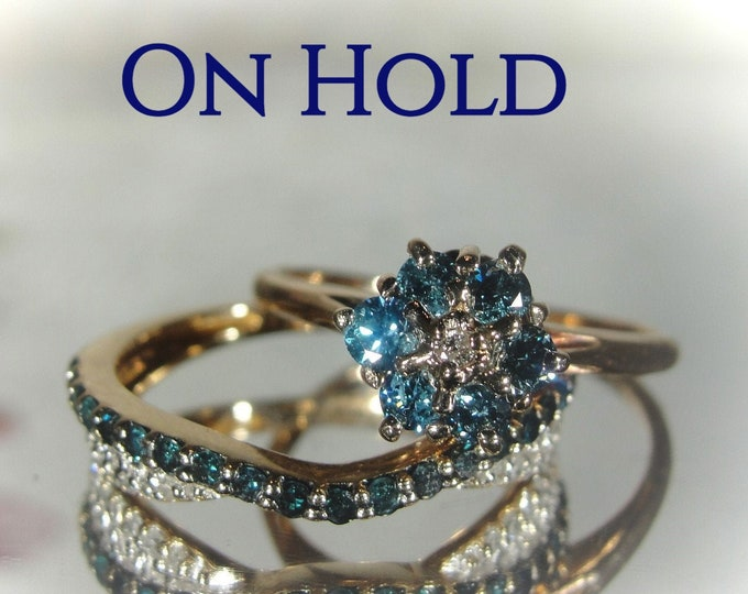 Victorian 14K & 10K Blue Diamond Bridal Rings, Blue Diamond Cluster Engagement Ring, Blue and White Diamond Wedding Band, Free Sizing!!