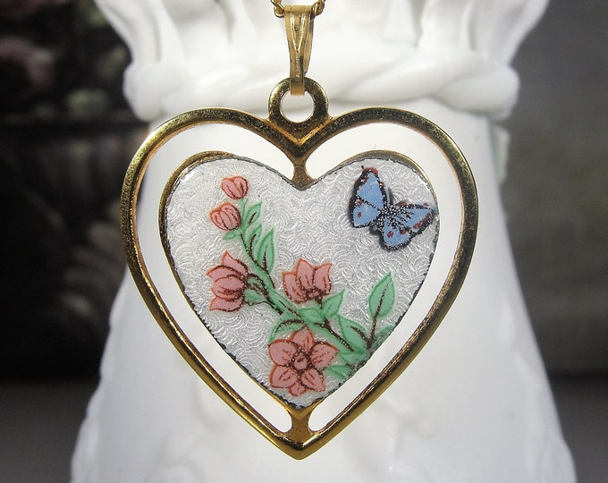"""Guilloche Necklace, French Hand Painted Floral and Butterfly Design, White Guilloche Heart Pendant, Vintage Necklace, 18"""" Chain"""
