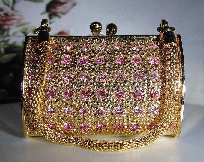 JERE 24K Gold Plated Pink Rhinestone Encrusted Trinket Box Hinged Purse, Pill Box Purse, Vintage Trinket Box