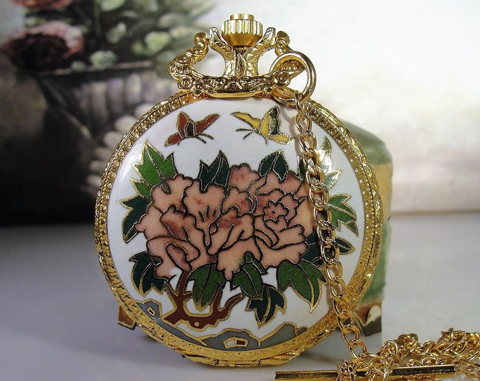 Pocket Watch, Vintage Floral Cloisonné Enamel Mechanical Pocket Watch with Origianl Box