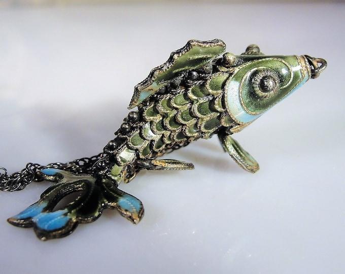 Fish Pendant, Cloisonné Enamel Sterling Silver Articulating Fish Pendant Necklace, Gun Metal Chain, Vintage Fish Necklace, Antique Pendant
