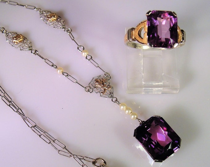 Victorian 14K Sapphire Jewelry Set, Pink-Purple Sapphire Necklace Ring, 14K White Gold and Rose Gold Accents, Vintage Jewelry Set, Size 5.25