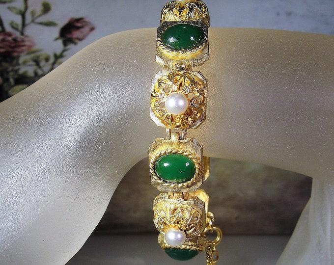 BSK Bracelet, Green Cabochon and Pearl Bracelet, Midcentury Bracelet, Green Bracelet, Pearl Bracelet, Green Glass Bracelet, Vintage Bracelet