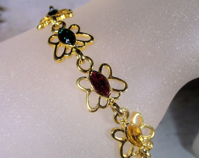 Butterfly Bracelet, Gemstone Butterfly Bracelet, Multicolored Butterfly Bracelet, Gold Tone Butterfly Bracelet, Butterfly Links, Vintage