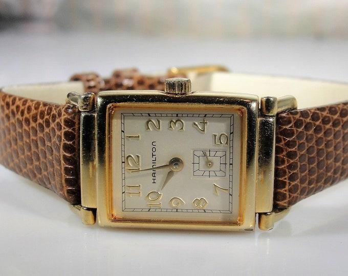 HAMILTON WILSHIRE Wrist Watch, Women's Sleek Thin Quartz Wrist Watch, Reproduction of the Original 1939 Model, Vintage Wrist Watch