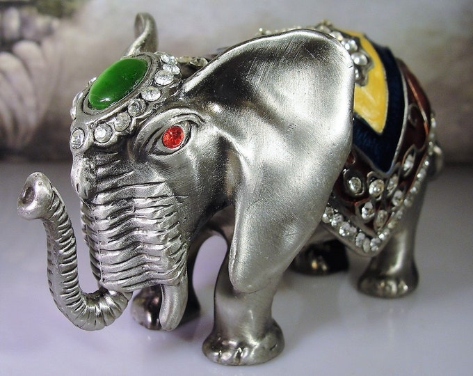 Finished Pewter Elephant Bejeweled Hinged Trinket Box, Vintage Trinket Box, Magnetic Trinket Box, Pewter Elephant - Collectible