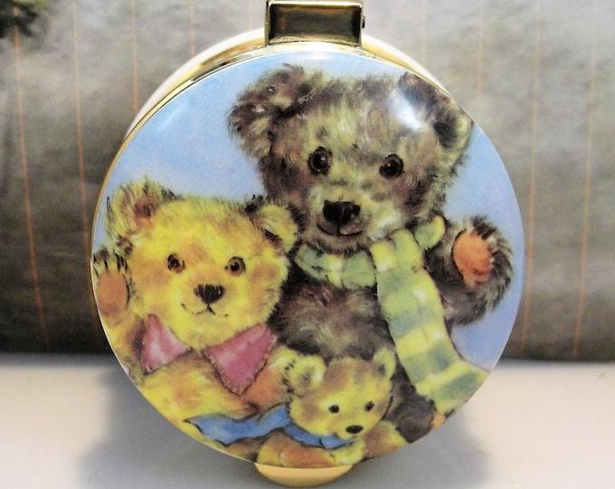AYSHFORD Porcelain Trinket Box, STAFFORDSHIRE ENAMELS, Teddy Bear Trinket Box, Teddies Teddies Everywhere, Vintage Bone China Trinket Box