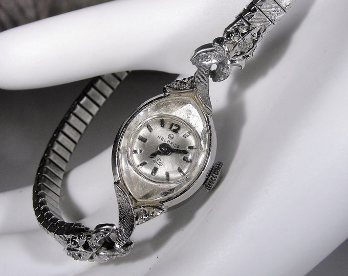 Women's Wrist Watch, HELBROS Women's Genuine Diamond Mechanical Wrist Watch with 21 Jewels, Vintage Watch