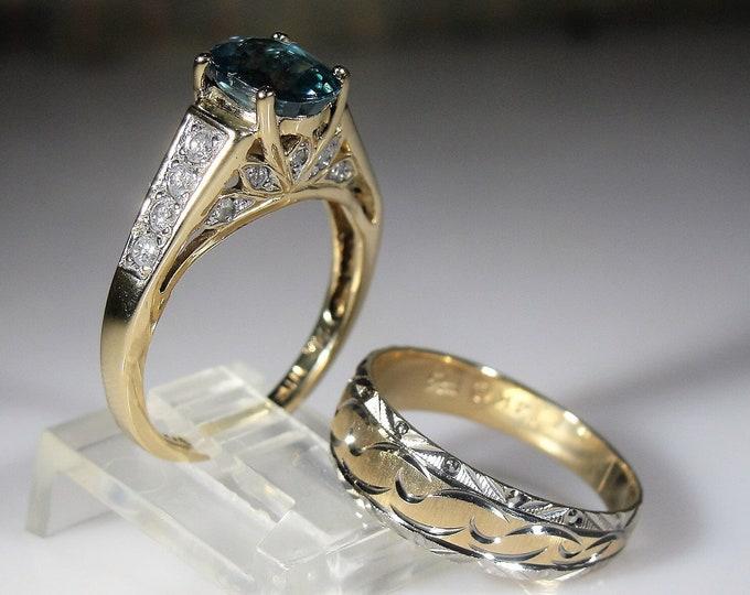 Bridal Ring Set, 14K Teal Sapphire and Diamond Bridal Ring Set, Genuine Sapphire & Diamonds, Wedding Band, Sz 6, Vintage Rings, FREE SIZING!