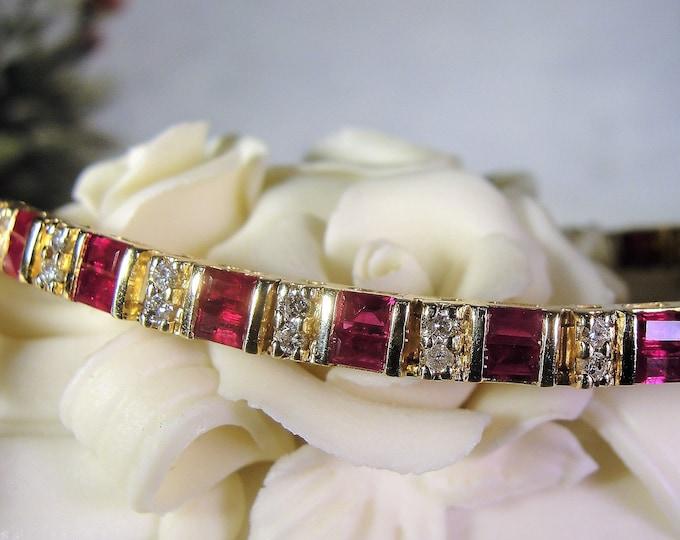 14K Ruby and Diamond Bracelet, Ruby Tennis Bracelet, Diamond Tennis Bracelet, Ruby Diamond Bracelet, Tennis Bracelet, Vintage Bracelet