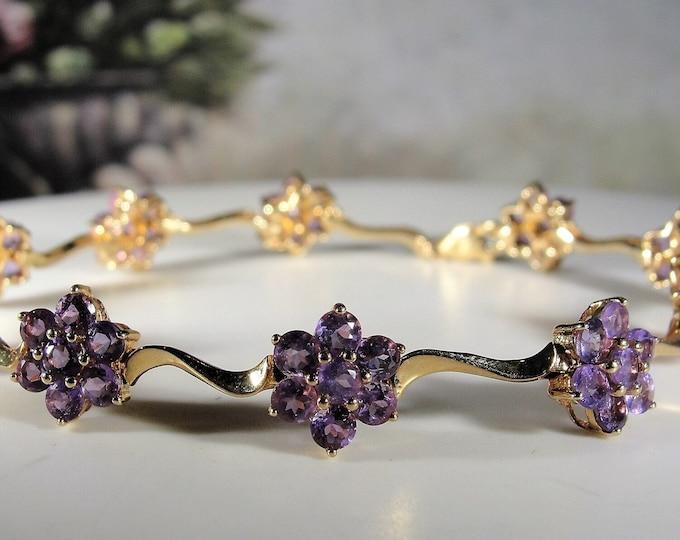 Amethyst Bracelet, 10K Yellow Gold Genuine Amethyst Flower Bracelet, Gemstone Bracelet, Purple Flower Bracelet, Vintage Bracelet