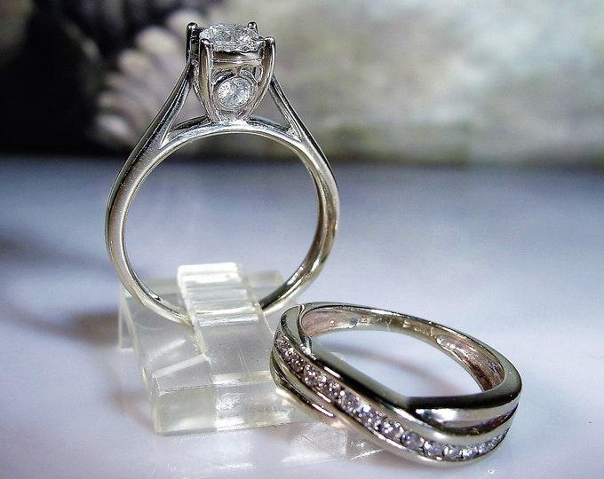 Bridal Ring Set, Vintage 10K & 14K White Gold Diamond Rings, Diamond Engagement Ring, Diamond Wedding Band, Wedding Rings, S 6, Free Sizing!