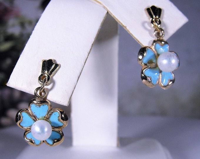 Pierced Earrings, 14K Blue Enamel Flowers with Pearl Center Earrings, Mini Dangle Earrings, Post Earrings, Vintage Earrings