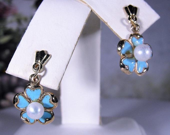 Pierced Earrings, 14K Blue Enamel Flowers with Pearl Center Earrings, Mini Dangle Earrings, Post Earrings, Vintage Earrings