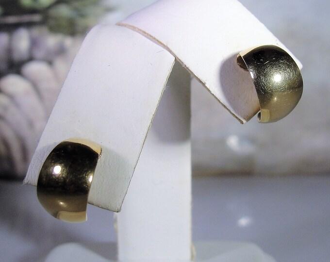 Retro 14K Rose Gold Petite Huggie Earrings, Child Earrings, Adolescent Earrings, Rose Gold Earrings, Vintage Earrings