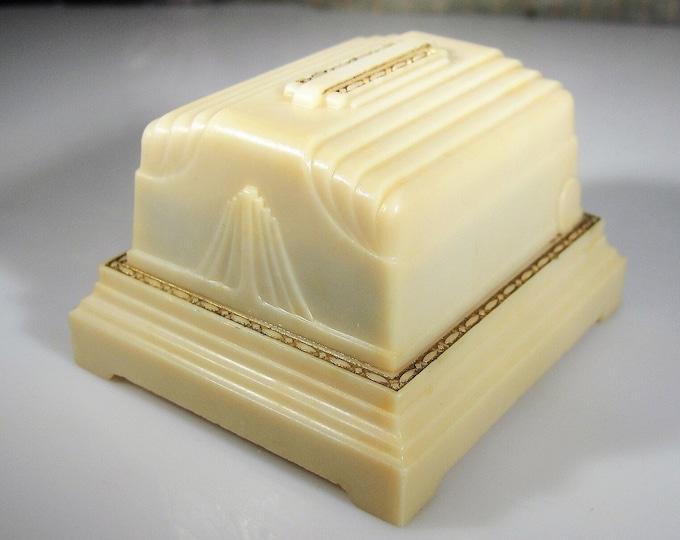 Ring Box, Vintage Bakelite Ring Box, Presentation Box, Gold Gilt Design, Cream Color Inside and Out, Vintage Ring Box