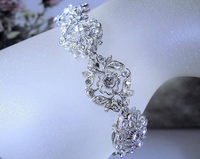 Designer Bracelet, Vintage GIORGIO ARMANI Designer Art Deco Style Sterling Silver CZ Bracelet