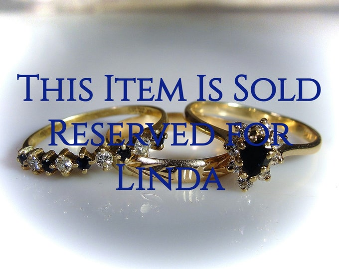 Reserved for Linda - 5th Final Payment: 14K Bridal Ring Set, Blue Sapphire Diamond Ring Set, Stacking Rings, Engagement Ring, Wedding Band