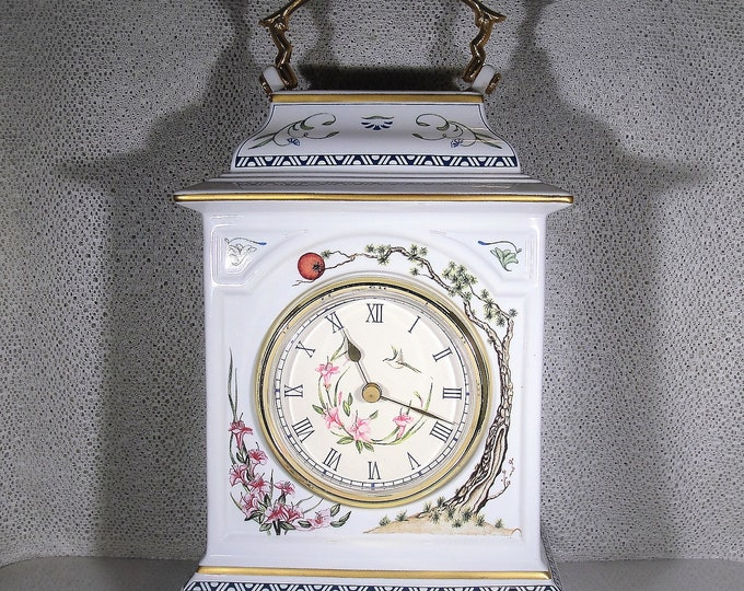 Carriage Clock, FRANKLIN MINT Porcelain Hand Painted Carriage Clock, Trees and Birds of the Orient Clock, Quartz Clock, Vintage Clock