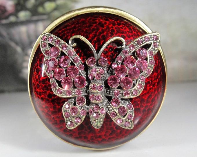 JERE Trinket Box, Pink Rhinestone Butterfly & Burgundy Enamel Brass Magnetic Trinket Box, Butterfly Applique, Vintage Trinket Box